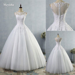 9036 2016 lace White Ivory A-Line Wedding Dresses for bride gown Appliques Vintage plus size maxi Customer made size 2-28W