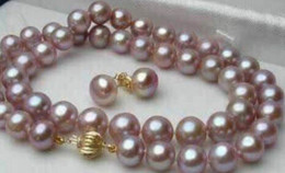 GENUINE 18inches 8-9MM PURPLE PEARL NECKLACE 925 SILVER EARRING