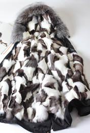 Lignes de capot en Ligne-Vêtements d'hiver de neige MRMRS FUR couples Long parkas capuche avec raccoon fourrure fourrure Fox fourrure Doublure