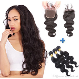 Women's Fashion Brazilian Body Wave Remy Human Hair 3 bundles With 4*4 Lace Closure Free Part With Baby Hair Natural Color 150g lot