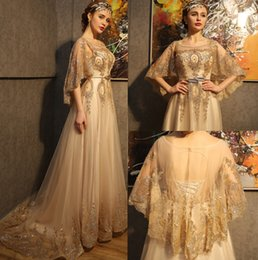 Wholesale 2017 New Arrival High quality Gold The bat sleeve Scoop Lace up Beading Sweep Teain Long Prom Evening Gowns