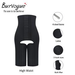 Wholesale Burvogue Women Latex High Waist Shapewear Steel Boned Butt Lift Body Shaper Plus Size Pants Zipper Tummy Control Panties Shaper