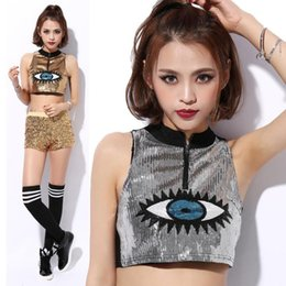 New Women sleeveless t shirt sparking bling sequined national style o neck crop tops women silver big eyes green golden sexy