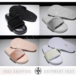 Wholesale Women Leadcat Rihanna Shoes suede platform gold Slippers Indoor Lady Sandals Girls Fashion Scuffs Pink Black White Grey Fur Slides With Box