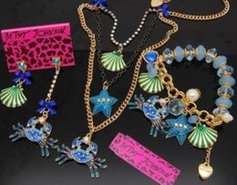 Wholesale Betsey Johnson Crystal shell crab starfish pearl bracelet necklace earrings set