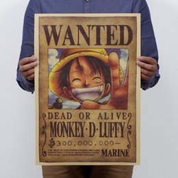 Wholesale One Piece Luffy Classic Cartoon Poster Retro Nostalgia Advertising Posters Bar Decorative Painting x35 cm