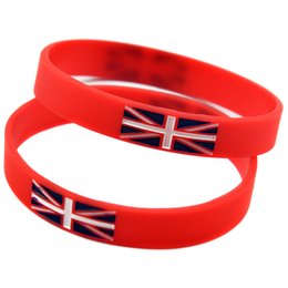 100PCS Lot British Flag Logo Silicone Wristbands Ink Filled Colour Decoration Bracelet Women and Men Gift Jewelry