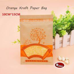 10*15cm Orange Kraft Paper Bag   Self sealing  Reusable  Food packaging store  Preserved food packaging. Spot 100  package