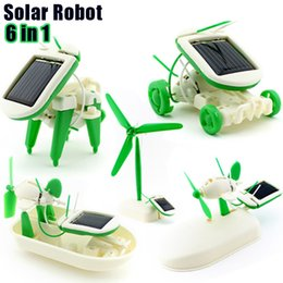 Wholesale In Solar Toy Robot Building Blocks Kids toys Bricks diy Children s Technology production dog ship aircraft Christmas Gifts