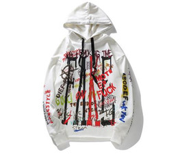 Letter printed hoodie Doodling letter-print frock style men's hoodie suitable for autumn High street fashion hip-hop