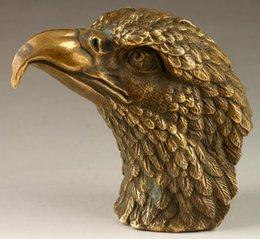 Vintage Handmade Exquisite Vivid Eagle Head Copper Statue