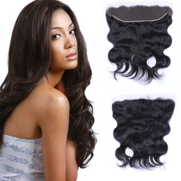 "Virgin Lace Frontal Closure Human Hair Brazilian Body Wave Lace Frontals 13*4 1B Middle Three Free Part Remy Hair 8""-20"" Free Shedding"