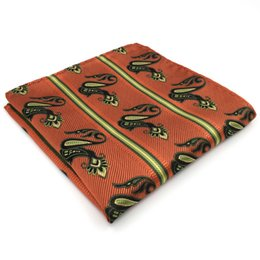 QH11 Paisley Orange Yellow Handkerchiefs Neckties Silk Hanky Pocket Square Silk Big Size Wedding