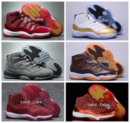 Wholesale 2017 Newest Velvet Heiress Air Retro XI Men Basketball Shoes Wool Athletic Space Jam Sports Retro s Gold Big Devil Chocolate Sneakers
