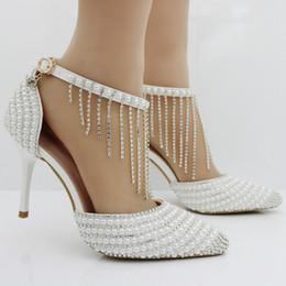 Perles de diamant hauts talons en Ligne-Luxe perle de diamants princesse talons hauts bracelets en bonnet chaussures de mariée pour femmes femmes de mode élégantes chaussures de mariage