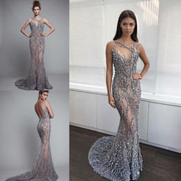 Shinning Luxury Mermaid Prom Dresses Sheer Neck Beading Crystals See Through Backless Prom Dress Sweep Train Celebrity Special Occasion Gown