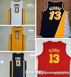 Wholesale Paul George Jerseys Stitched New Paul George White Dark Blue Yellow Hickory Red Jerseys Throwback Jerseys