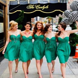2018 Cheap Short Chiffon A Line Bridesmaid Dresses For Summer Green Pleats Sweetheart Zipper Back Bridesmaid Dresses Sale Online New Arrival