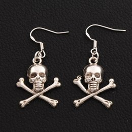 Pirate Skull Earrings 925 Silver Fish Ear Hook 30pairs lot Antique Silver Chandelier E981 41.4x19.6mm