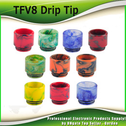 Wholesale Smok TFV8 Epoxy Resin Drip Tip Colorful Resin Wide Bore drip tips Mouthpiece for Smok TFV8 and Tfv8 Big Baby Best Tank DHL Free