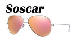 Gafas de sol de color rosa en venta-Las lentes de destello rosadas del espejo de las gafas de sol del estilo piloto de Soscar 019 / Z2 58m m / 62m m diseñan las gafas de sol del diseño para las mujeres UV380 liberan el envío