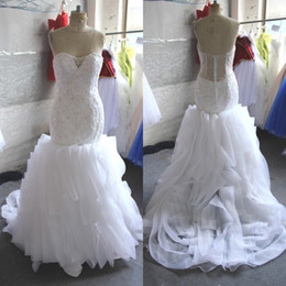 Gorgeous Ruffles Mermaid Wedding Dress Sweetheart Sleeveless Beads Embroidery Vertical Ruffled Bridal Gowns with Illusion Back Sweep Train