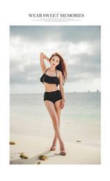 Compra Online Tankini negro l-2017 nueva traje de baño femenino negro loto hoja división bikini alta cintura era fino traje de baño sexy BKINI