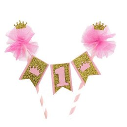 Wholesale New Custom Hot Baby Shower Cake Banners Sale 1st Birthday Party Topper Pink Yarn Pompon Gold Bunting Photo Props