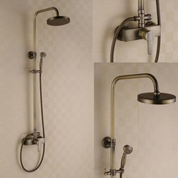 Wholesale Antique Brass Shower Faucet Hot And Cold Dual Handles Mixer Tap with inch Shower Head Hand Shower