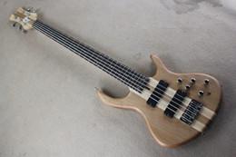 Acheter en ligne Guitare par-Livraison gratuite Boutique en ligne de la boutique Nouveau cou personnalisé de qualité supérieure à travers la guitare basse corps 5 cordes basse électrique Couleur naturelle 914