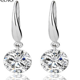 Wholesale 925 Sterling Silver Plated Earrings Fine DHL Wedding Engagement Zircon Studs Earring Princess Cut Created Diamond Jewelry