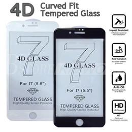 Iphone vidrio de alta calidad en venta-Nuevo protector completo de la pantalla de la cubierta de la llegada los 0.2MM 4D para el iPhone 7 6 6S más el vidrio templado curvado 3D de alta calidad con la caja al por menor