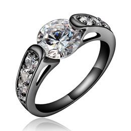 Descuento alto acero inoxidable pulido Zirconia cúbica simple de las mujeres negras Alto anillo polaco del solitario Tamaño del acero inoxidable Reino Unido M O Q S