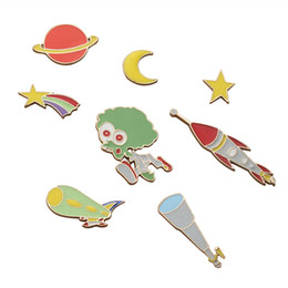 Acheter en ligne Télescope étoile-Vente en gros - Livraison gratuite Cute Cartoon Moon Stars Planet Alien Telescope Universe Broche Pin Button Pins Girl Jeans Clothes Decoration Gift