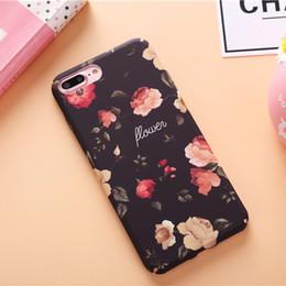 Caoutchouc pression en Ligne-Pour iphone 6S 7 Rose Fleur Snap Sur Caoutchouc Hard Back Case Couverture Imprimer Pour iphone 6 7 plus