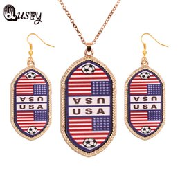 2016 New Acrylic argentina Usa fance korea flag football fans Long Dangle Earrings Oval Necklace Costume Women Jewelry Sets