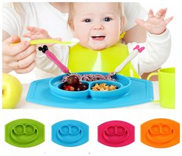 Wholesale Smile Mat Baby bowls kids tableware One piece silicone placemat Kid Pad Dining Table Mats baby Tray learning silicone cups dishes LJJK583