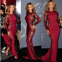 Купить Онлайн Сексуальная музыка-Beyonce Video Music Awards Знаменитые платья Sweep Train Красный ковер Бисероплетение выпускного платья Backless официальное платье