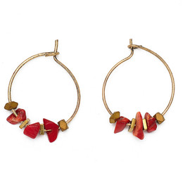Fashion Red Natural Stone Beads Hoop Earrings Circle Copper Alloy Piercing Earrings Women Girl Lady's Jewelry Retro Bohemia Style Hot Sale