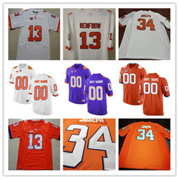 Clemson Tigers College Football #5 Tee Higgins 8 Deon Cain 13 Hunter Renfrow 34 Ray-Ray McCloud White Orange Purple Stitched Jersey S-3XL