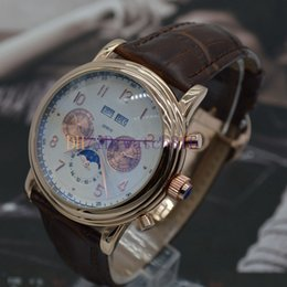 Wholesale brand new Men s high quality stainless steel mechanical movement style sun and the moon stars automatic fashion luxury leather strap wat