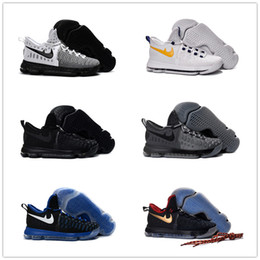 Kd chaussures de vente mens en Ligne-2017 Chaussures Hommes KD 9 Hommes Chaussures Casual KD9 Oreo Gris Wolf Kevin Durant 9s Hommes Sneakers Warriors Accueil US Taille 7-12
