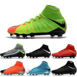 Drop Shipping Wholesale Football Shoes Men Hypervenom III Phantom FG Soccer Boots 9 Color Outdoor High Quality Sports Shoes Size 6.5-11