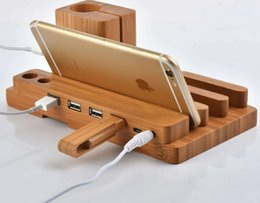 Wholesale creative watch phone tablets multi holes USB charging bamboo holder iwatch holes wood stand charging holders