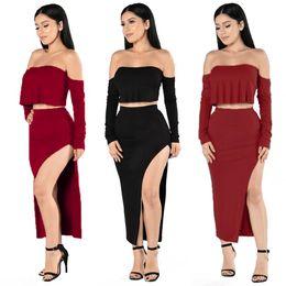 Robes moulantes kardashian à vendre-2 pièces Set Summer Summerbelt Bodycon Robe Midi 2016 Robe Kim Kardashian Casual Sexy Robe Bandage 2 pièces