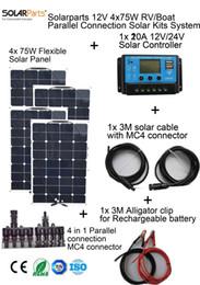 olarparts 4x75W DIY RV / лодки наборы Солнечная система 4 x75W гибкая панель солнечных батарей 1x 20A солнечный регулятор 1 комплект 3M MC4 кабель 1 комплект зажим от Производители р.в. комплекты солнечных панелей