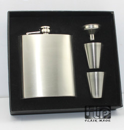 7oz Hip Flask with 4 Cups & Funnel Supplied in a silk foam linned gift box