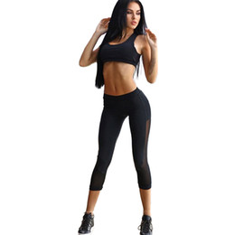 Summer new tracksuits mesh splice hollow out fitness leggings bras 2017 athleisure sportsuits black sexy active suits