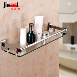 Wholesale All copper glass shelf single layer toughened glass toilet toilet shelves The bathroom cabinet mirror front shelves contain artifacts6191A