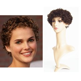 Human Hair Lace Front Wigs Black Women Medium Brown Color 6inch Cheap Price Short Curly Machine Made Lace Front Wig